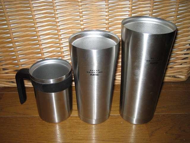THERMOS ステンレスマグカップ(飲み口付) JCM-240 と フォルテック・ハウス ステンレスタンブラー 400ml FHR-6177 と フォルテック・ハウス ステンレスタンブラー 620ml FHR-6204 大きさ比較