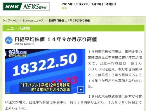 ☆日経平均株価 14年9か月ぶり高値!☆