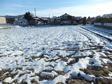 雪の残る田んぼ