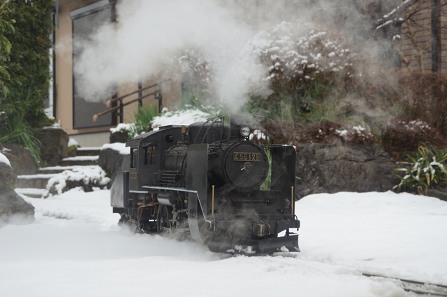C56 129 飯山線冬仕様 つらら切 スノープラウと雪 蒸機が楽しい