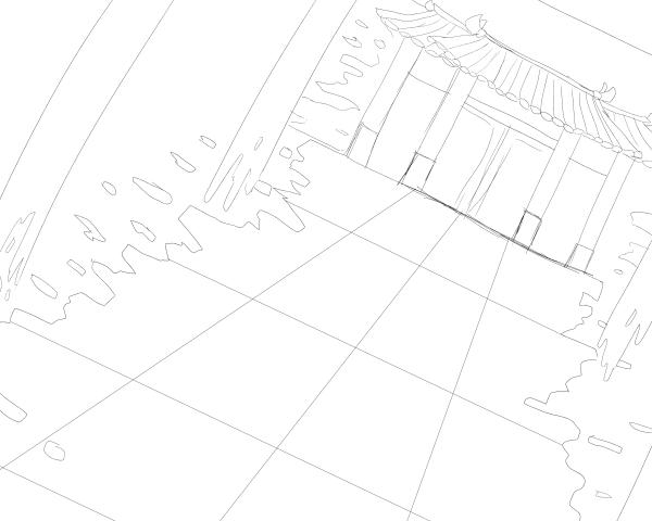 線画(背景)
