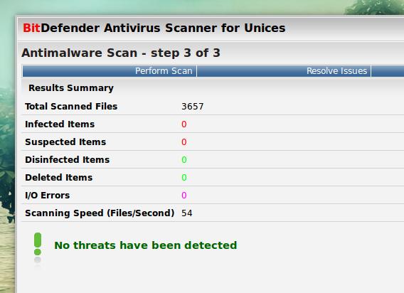 BitDefender Ubuntu ウイルススキャン結果