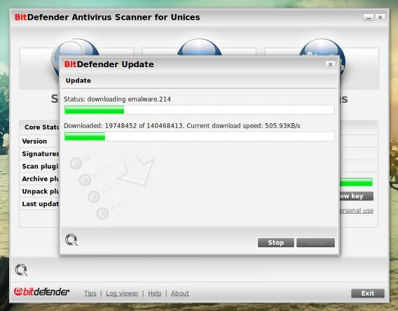 BitDefender Ubuntu ウイルス定義ファイルの更新