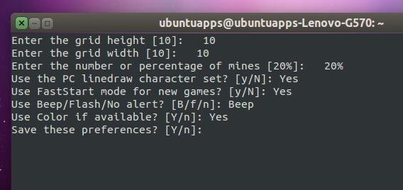 Freesweep Ubuntu 端末 マインスイーパー 設定