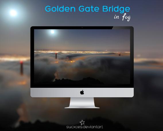 Golden Gate Bridge in fog Ubuntu 壁紙