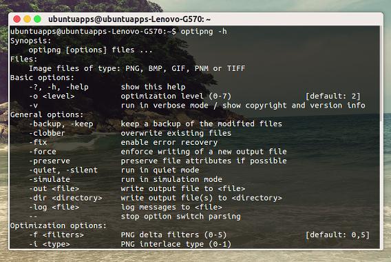 OptiPNG Ubuntu PNG圧縮 コマンド