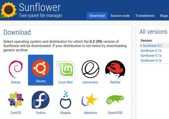 Sunflower 0.2 Ubuntu ファイルマネージャ debパッケージ ダウンロード