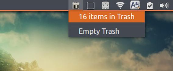Trashindicator Ubuntu パネル ゴミ箱 メニュー