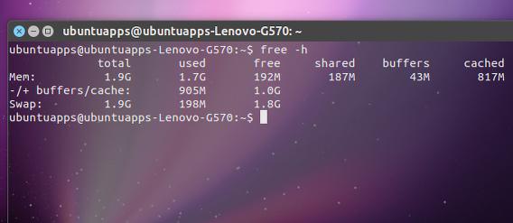 Ubuntu free コマンド メモリ 確認