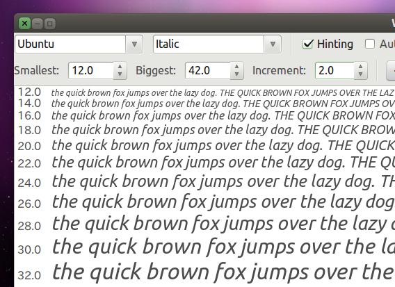 gwaterfall Ubuntu フォントの種類 フォントサイズ