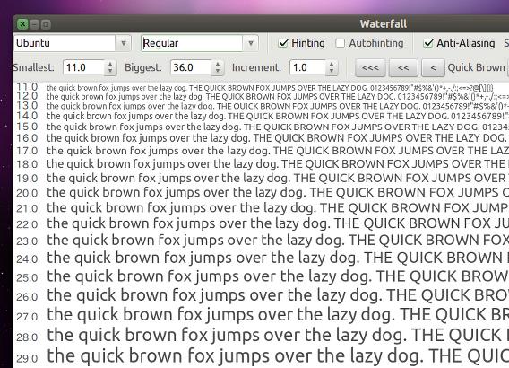 gwaterfall Ubuntu フォント 一覧